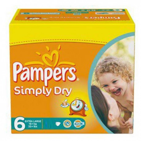 62 Couches pampers simply dry taille 6 pas cher sur les looloos on